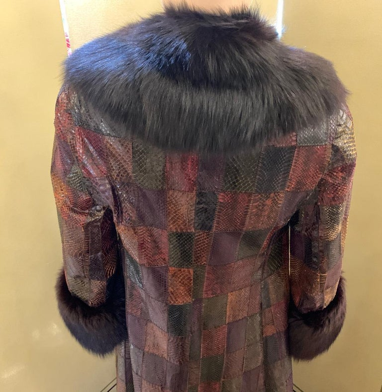 Stunning Snakeskin Patchwork Coat with Sheared Mink Lining and Black Fox Trim In Good Condition For Sale In Tustin, CA