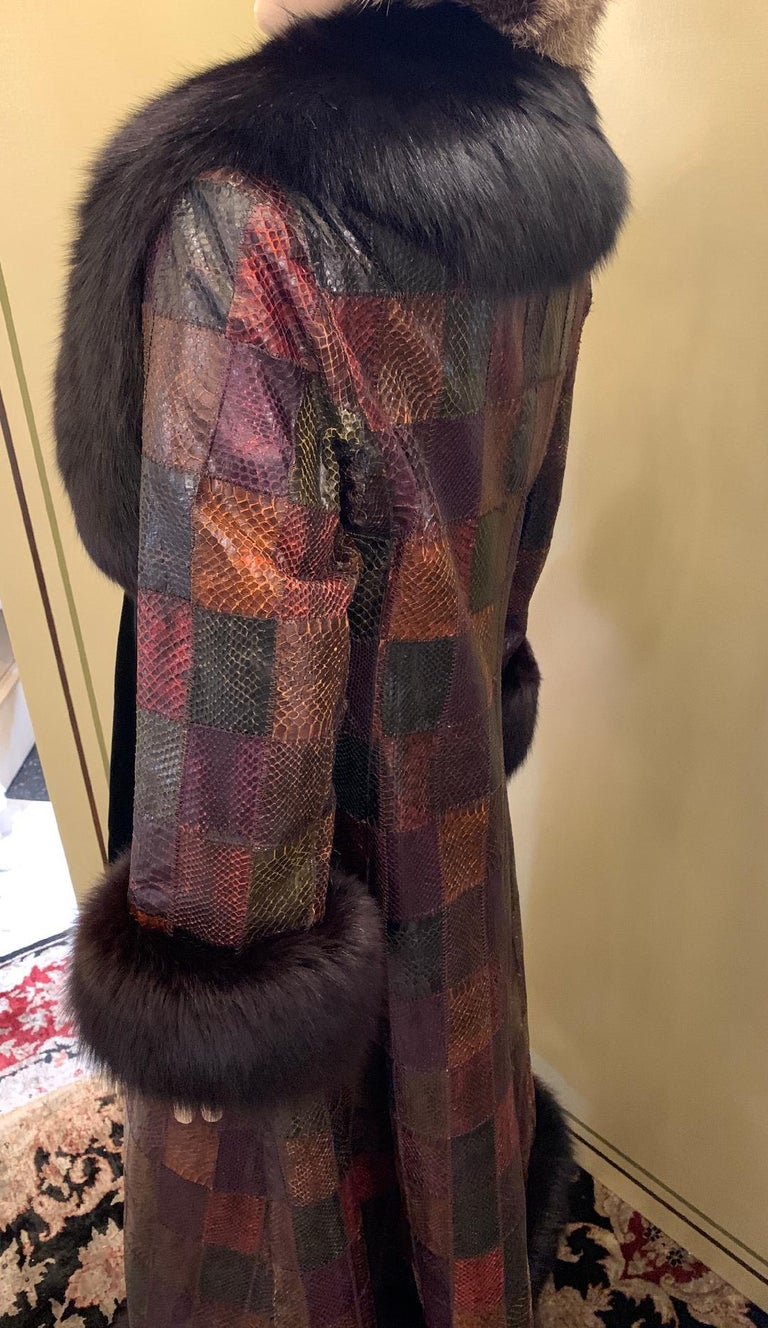 Women's Stunning Snakeskin Patchwork Coat with Sheared Mink Lining and Black Fox Trim For Sale