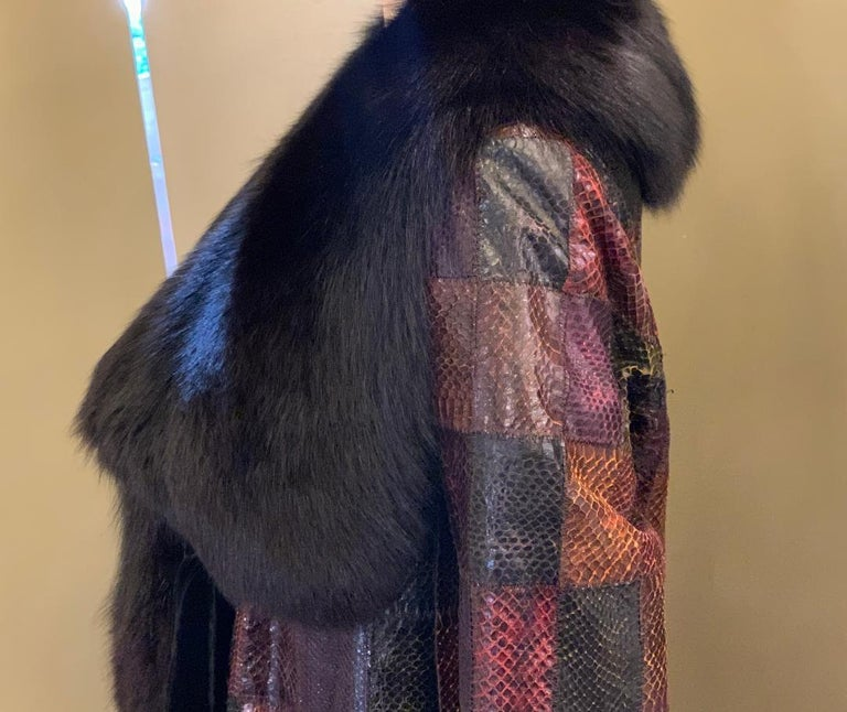 Stunning Snakeskin Patchwork Coat with Sheared Mink Lining and Black Fox Trim For Sale 1