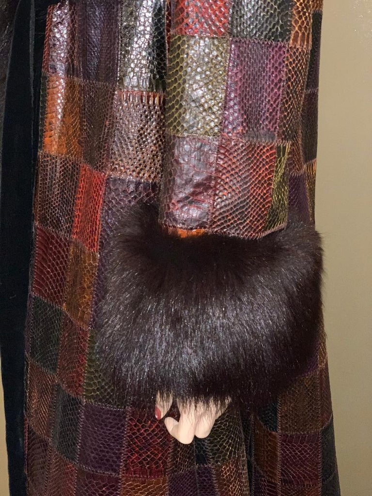 Stunning Snakeskin Patchwork Coat with Sheared Mink Lining and Black Fox Trim For Sale 2