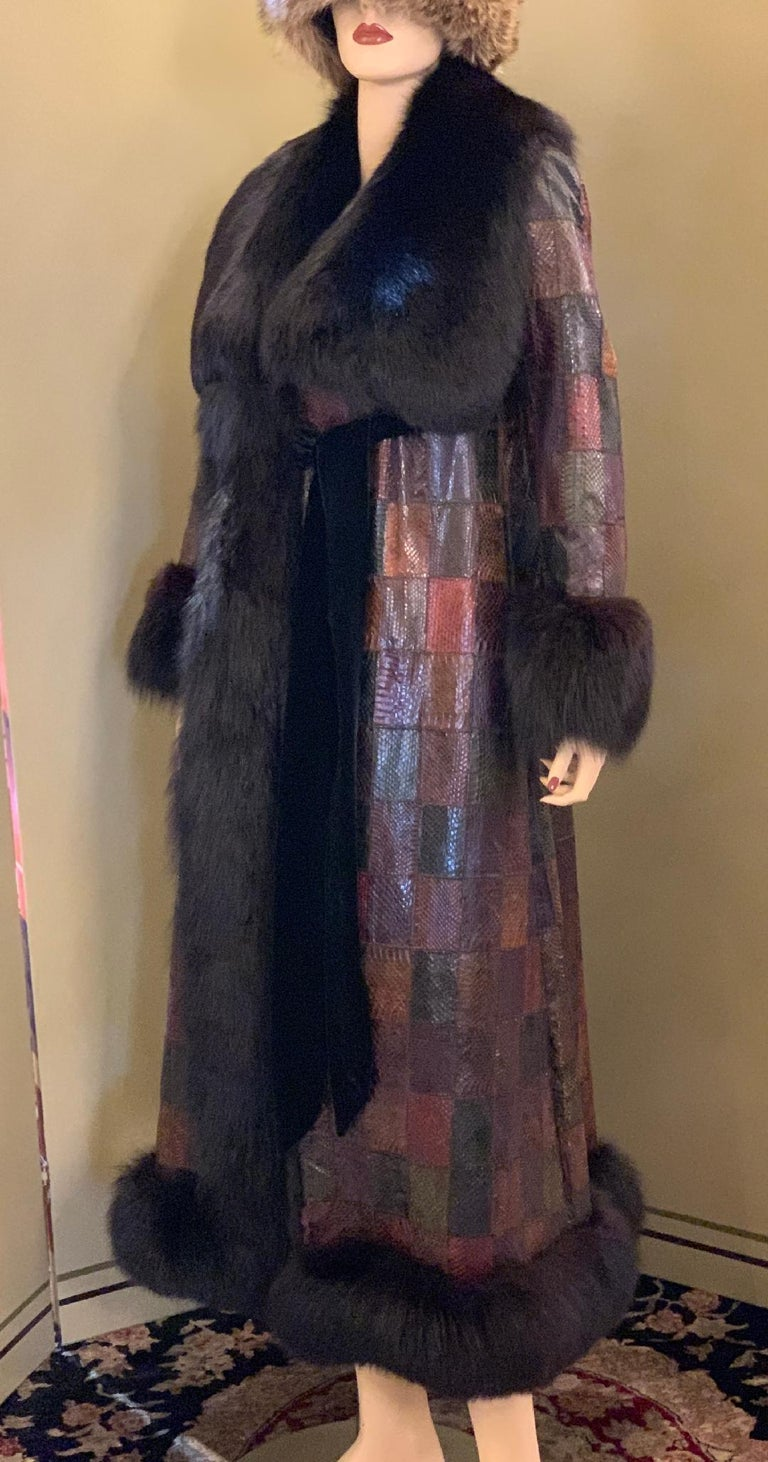 Stunning Snakeskin Patchwork Coat with Sheared Mink Lining and Black Fox Trim For Sale 3