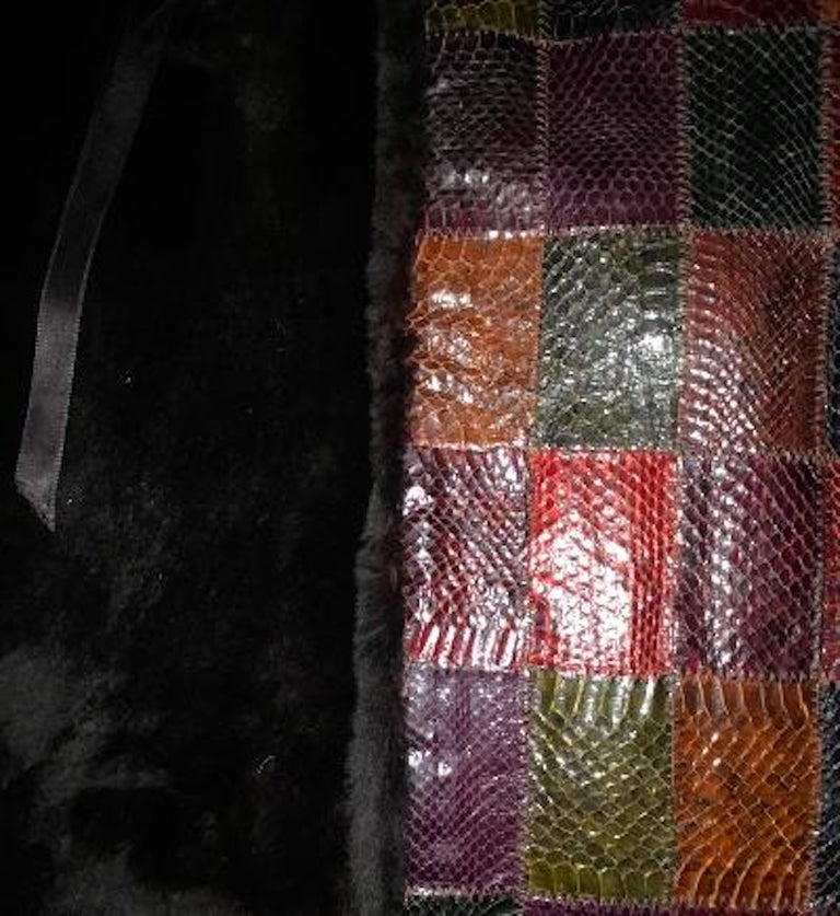 Stunning Snakeskin Patchwork Coat with Sheared Mink Lining and Black Fox Trim For Sale 4
