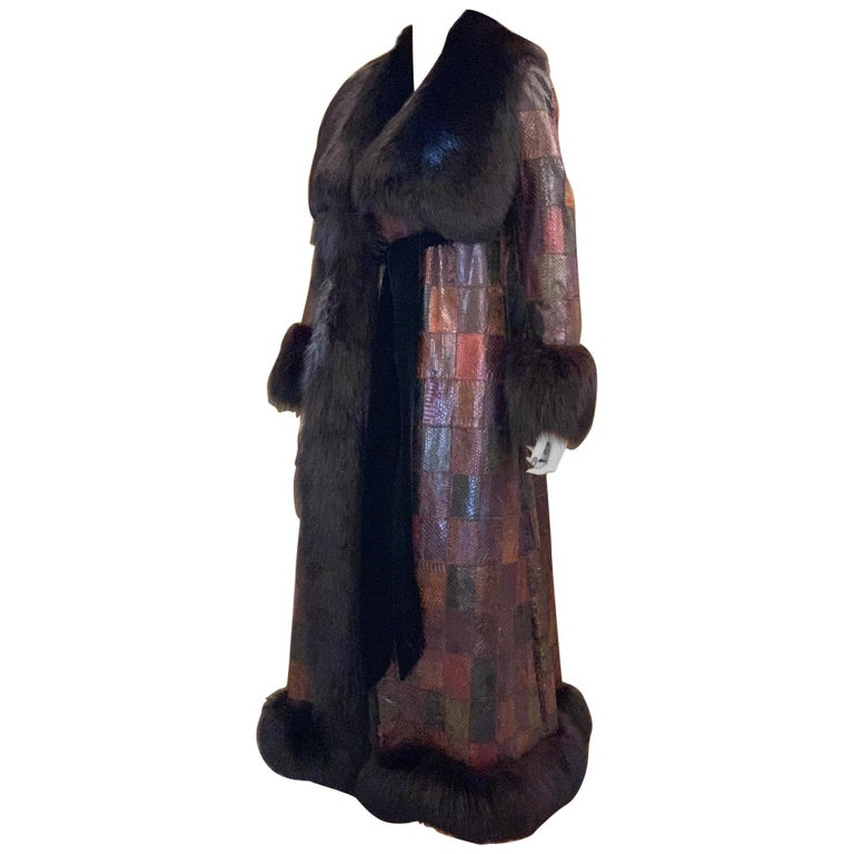 Stunning Snakeskin Patchwork Coat with Sheared Mink Lining and Black Fox Trim For Sale