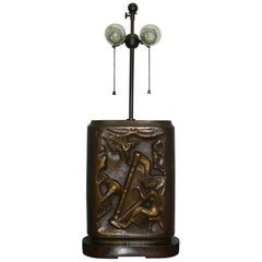 Stunning Solid Bronze John Hovannes Art Lamp Depicting Musicians and Ballerinas
