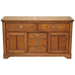 Stunning Solid Oak Vintage Campaign Style Sideboard with Drawers and Cupboards