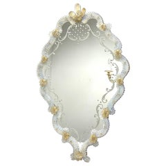 Stunning Spectacular Murano Glass Wall Mirror, circa 1950s, Italy
