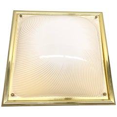 Stunning Square Brass & Lucite Glass Flush Mount, Zicoli Leuchten Germany 1960s