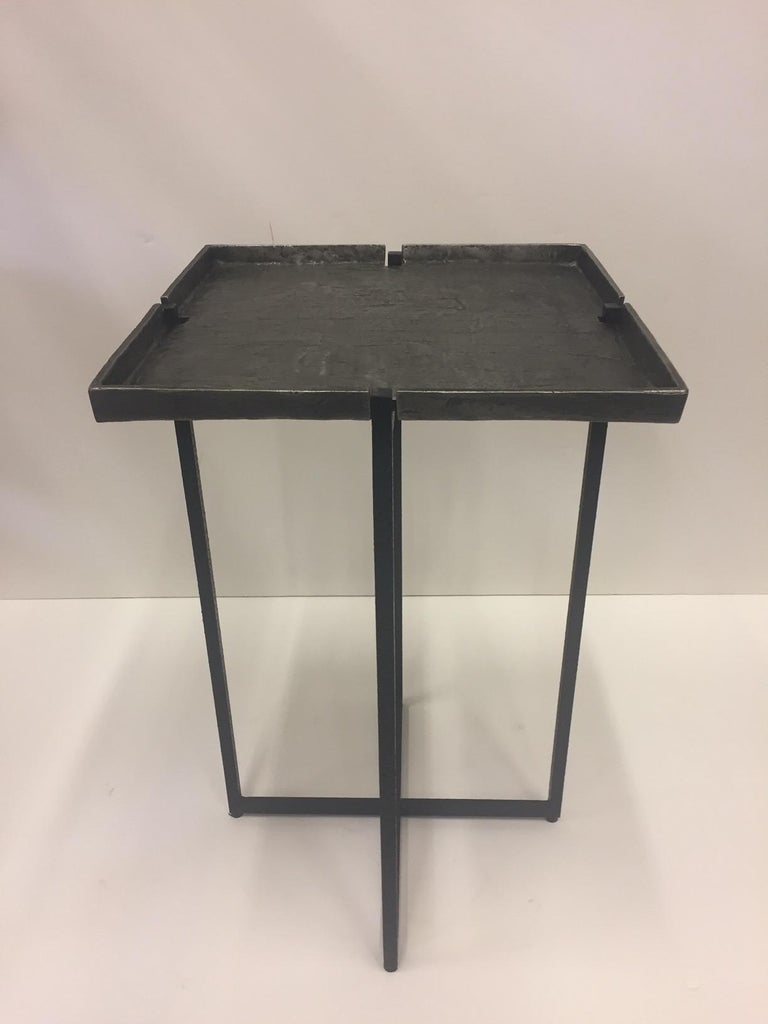 Modern Stunning Square Cast Aluminum & Iron Drinks Side Table For Sale