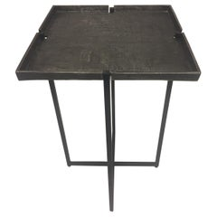 Stunning Square Cast Aluminum & Iron Drinks Side Table