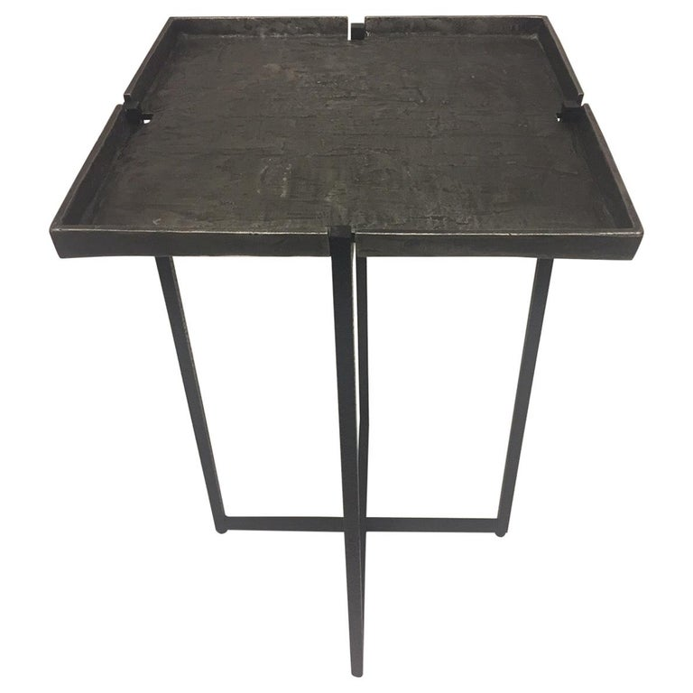Stunning Square Cast Aluminum & Iron Drinks Side Table For Sale