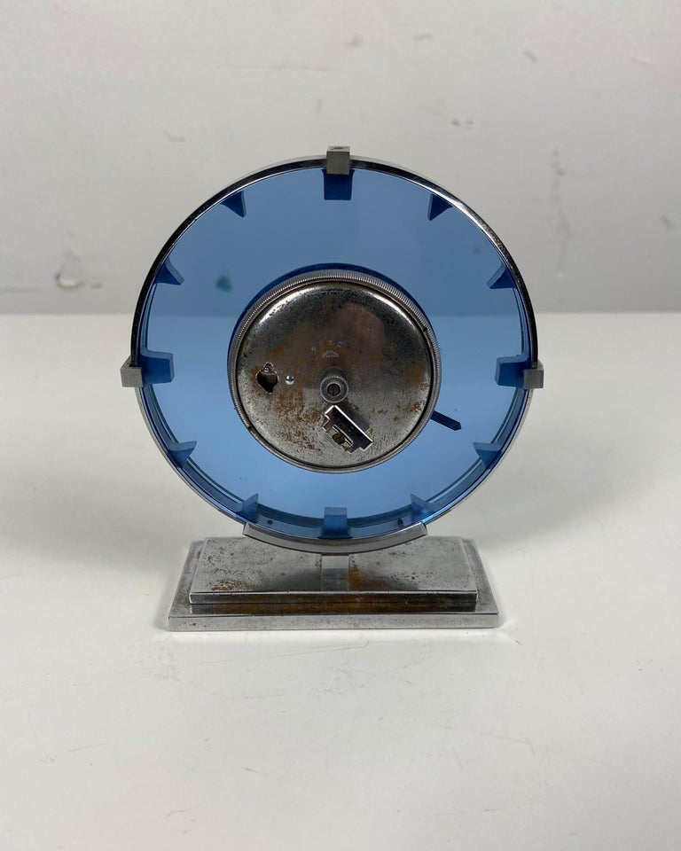 American Stunning Stainless Steel and Blue Glass Art Deco / Machine Age Clock For Sale