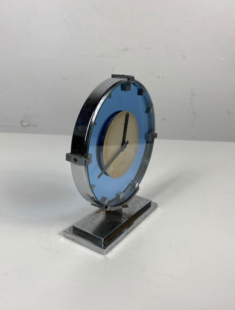 Mid-20th Century Stunning Stainless Steel and Blue Glass Art Deco / Machine Age Clock For Sale