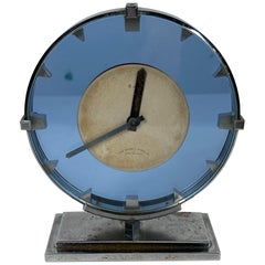 Stunning Stainless Steel and Blue Glass Art Deco / Machine Age Clock