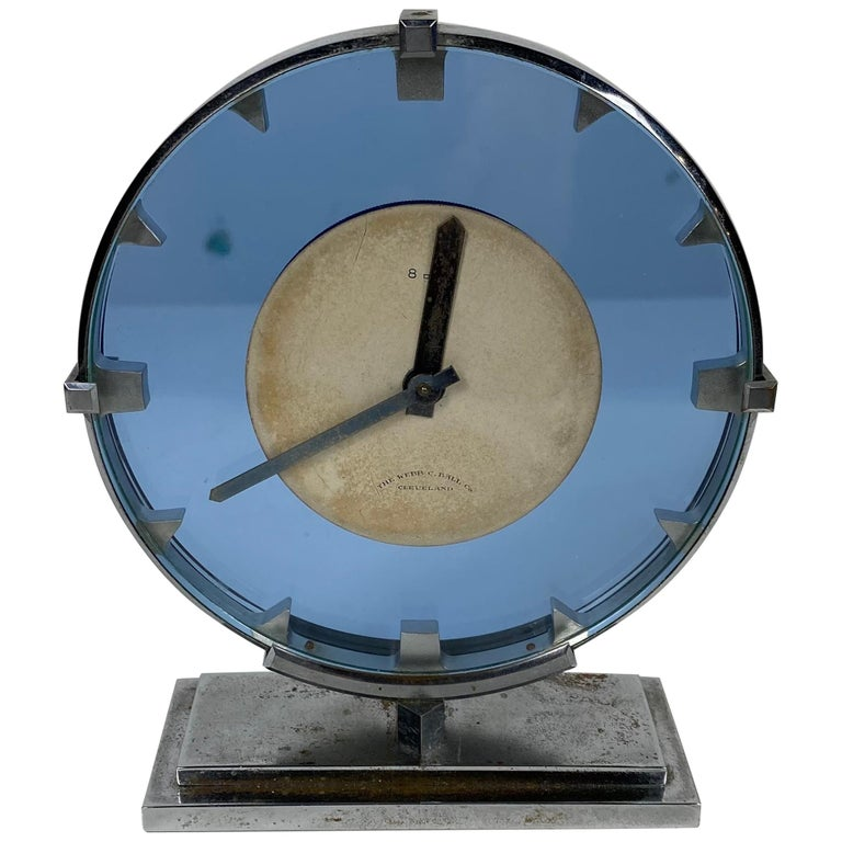 Stunning Stainless Steel and Blue Glass Art Deco / Machine Age Clock For Sale