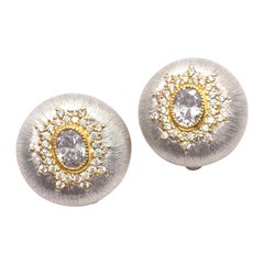 Stunning Star-Pattern Round Two-tone Sterling Silver Clip-on Earrings