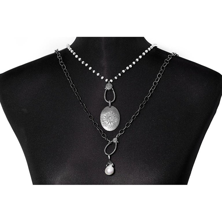 Women's Stunning Sterling Silver, Diamond, Pearl, White Sapphire and Necklace Set For Sale