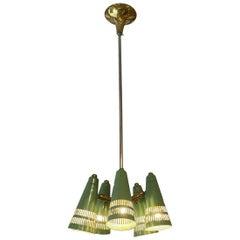 Stunning Stil Novo Green Shaded Ceiling Lamp, France, 1950