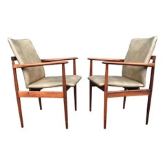 Stunning & Stylish Pair of Handcrafted Midcentury Modern Solid Wooden Armchairs