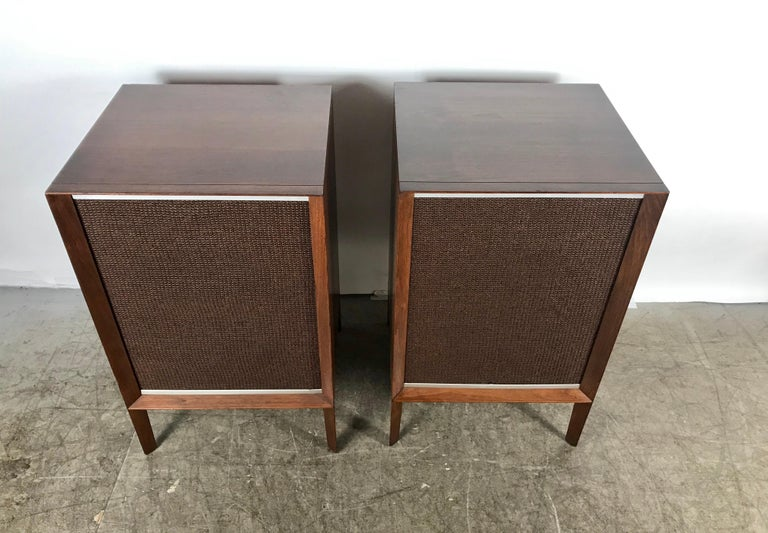 American Stunning Stylized Mid-Century Modern Electro Voice Stereo Speakers in Walnut For Sale