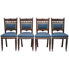 Stunning Suite of Original Solid Mahogany Victorian Maple & Co. Dining Chairs