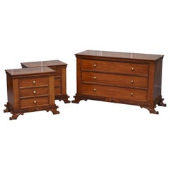 Stunning Suite of Panelled Mahogany Chests of Drawers Ornately Carved Bases