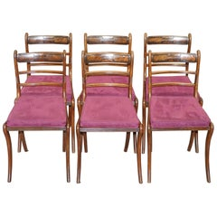 Stunning Suite of Six Regency Mahogany Berger Dining Chairs Velvet Chesterfield