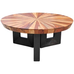 Stunning Sunburst Round Wooden Modern Deco Style Coffee Table with Black Base
