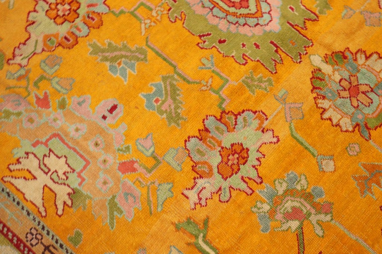 Stunning Sunny Yellow Antique Turkish Oushak Rug For Sale 3