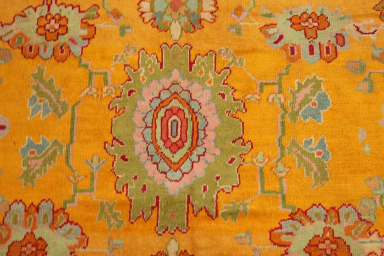 Stunning Sunny Yellow Antique Turkish Oushak Rug For Sale 4