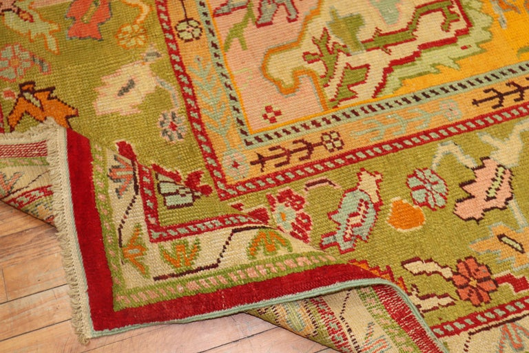 Stunning Sunny Yellow Antique Turkish Oushak Rug For Sale 5