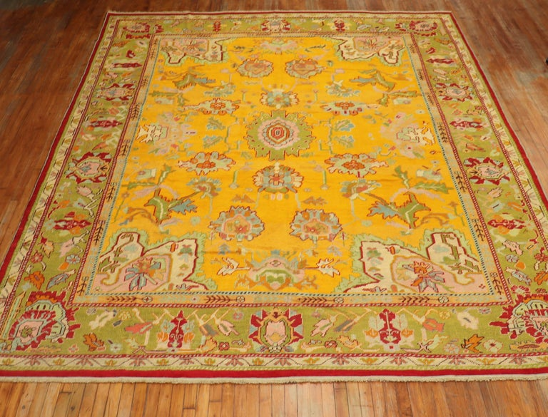 Stunning Sunny Yellow Antique Turkish Oushak Rug For Sale 6