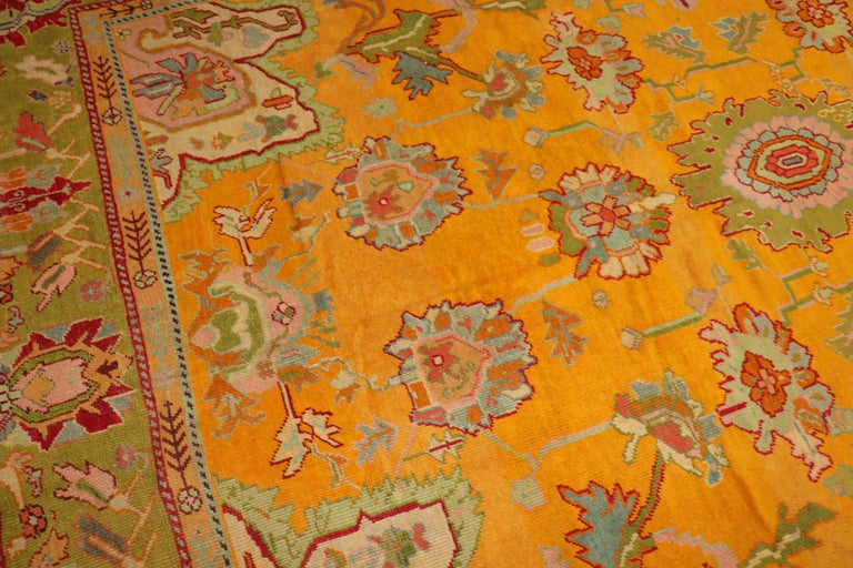 Adirondack Stunning Sunny Yellow Antique Turkish Oushak Rug For Sale