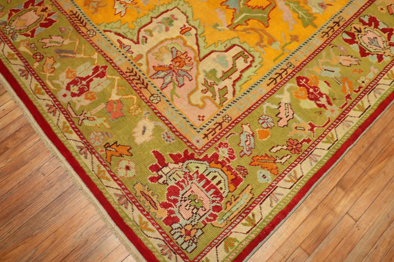 Hand-Woven Stunning Sunny Yellow Antique Turkish Oushak Rug For Sale