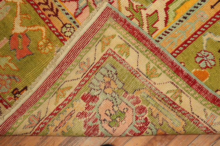 Stunning Sunny Yellow Antique Turkish Oushak Rug In Good Condition For Sale In New York, NY