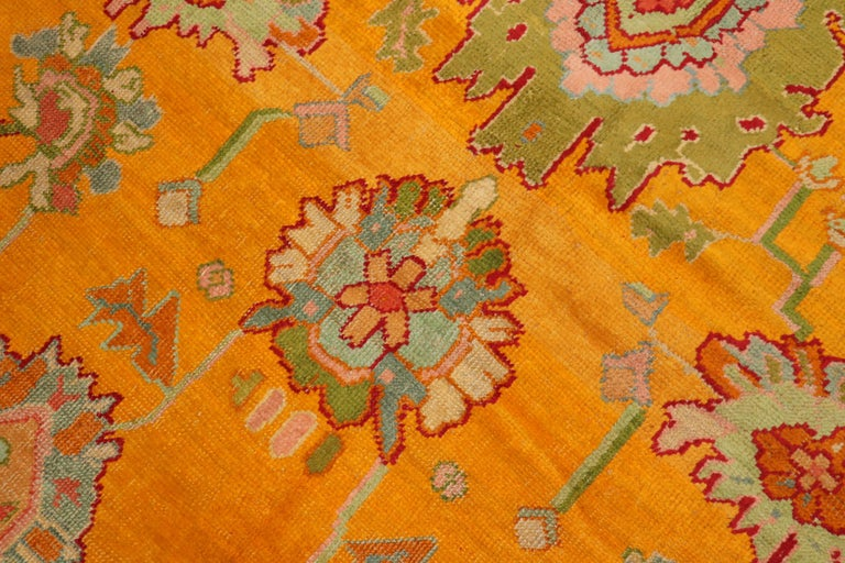 20th Century Stunning Sunny Yellow Antique Turkish Oushak Rug For Sale