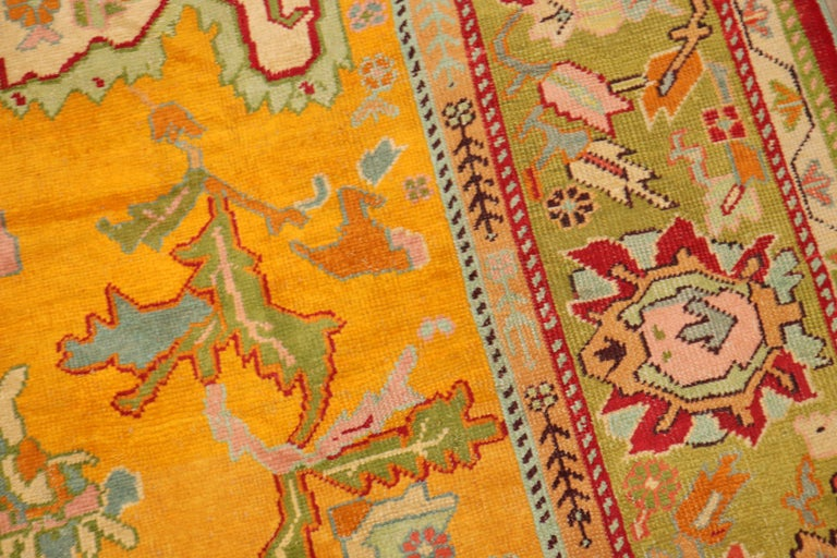 Wool Stunning Sunny Yellow Antique Turkish Oushak Rug For Sale