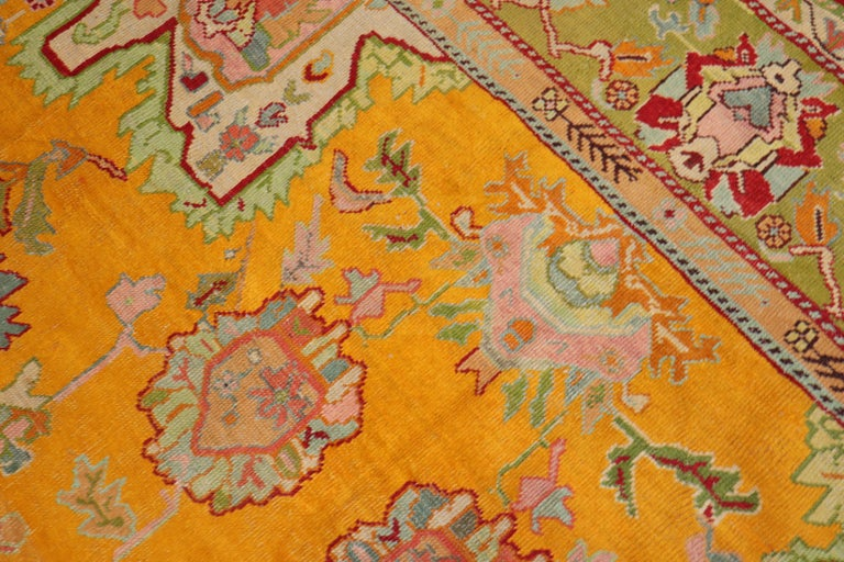 Stunning Sunny Yellow Antique Turkish Oushak Rug For Sale 1