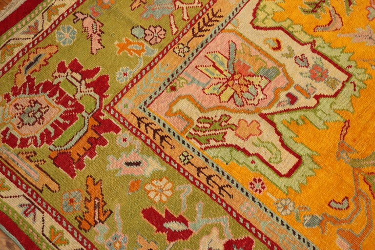 Stunning Sunny Yellow Antique Turkish Oushak Rug For Sale 2