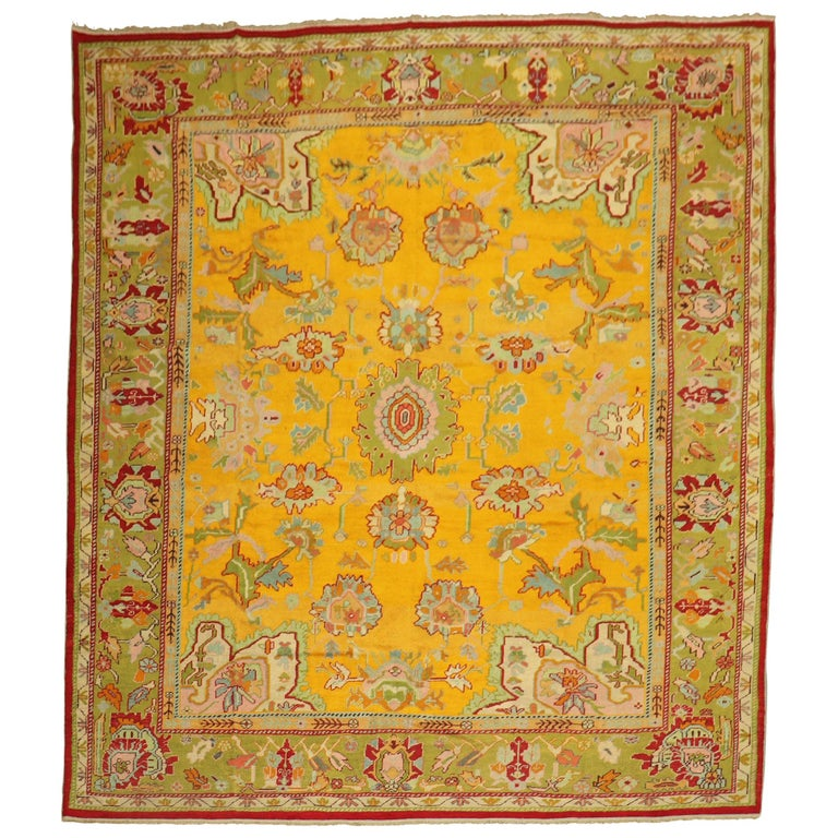 Stunning Sunny Yellow Antique Turkish Oushak Rug For Sale