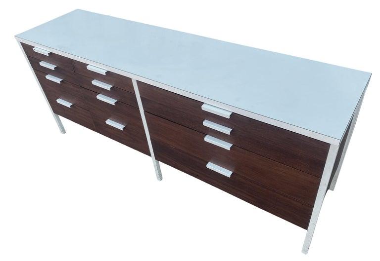 Stunning Swedish Mid-Century Modern 12 Drawer Dresser Credenza White Metal Legs For Sale 5