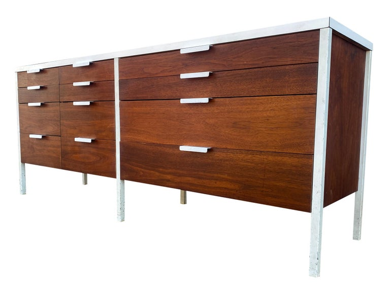 Stunning Swedish Mid-Century Modern 12 drawer dresser credenza white laminate top and metal legs/pulls. Impressive construction and very beautiful modern design. All 12 teak and hardwood drawers slide smooth and very clean inside and out. Very