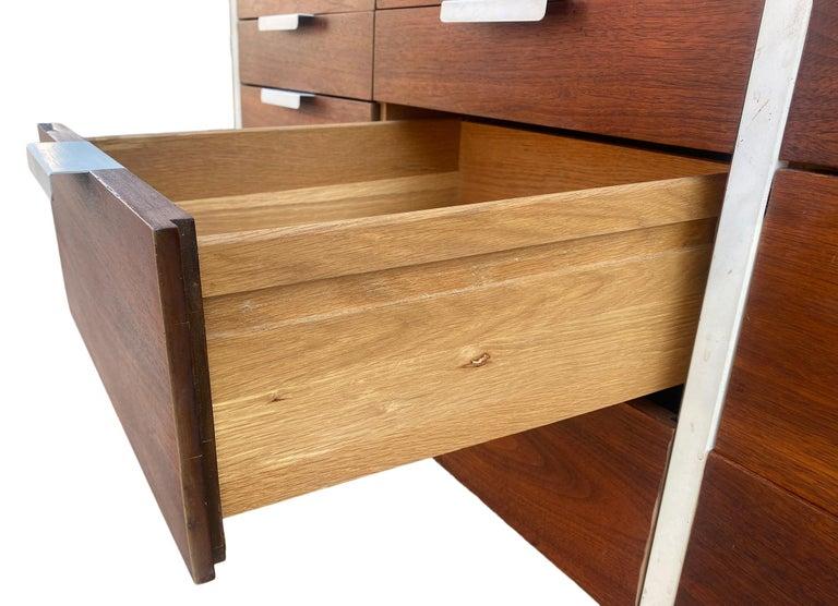 Steel Stunning Swedish Mid-Century Modern 12 Drawer Dresser Credenza White Metal Legs For Sale