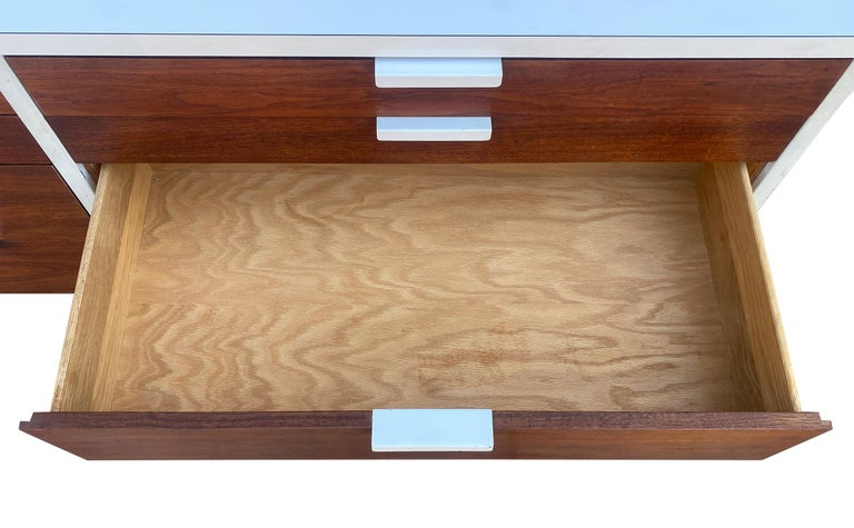 Stunning Swedish Mid-Century Modern 12 Drawer Dresser Credenza White Metal Legs For Sale 1