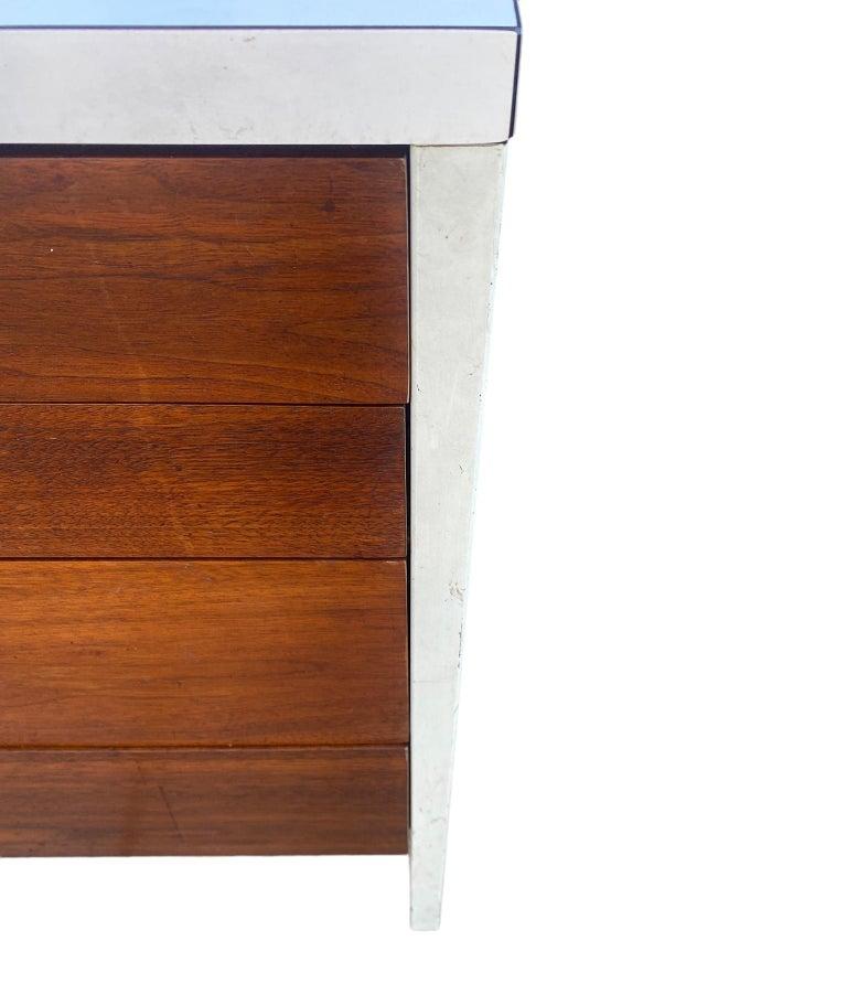 Stunning Swedish Mid-Century Modern 12 Drawer Dresser Credenza White Metal Legs For Sale 2