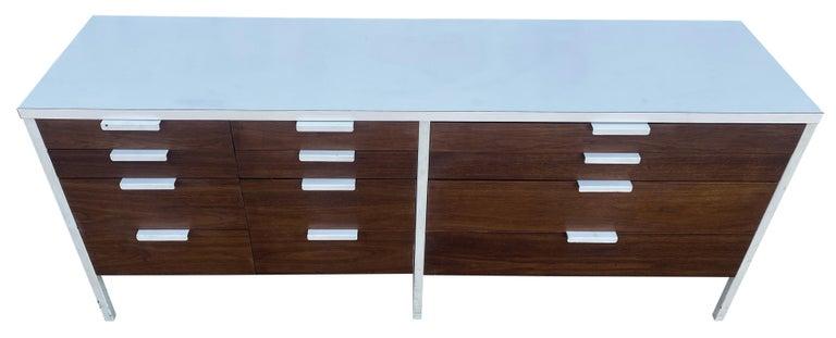 Stunning Swedish Mid-Century Modern 12 Drawer Dresser Credenza White Metal Legs For Sale 4