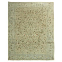 Stunning Tan Icy Blue Antique Persian Formal Meshed Rug, 20th Century