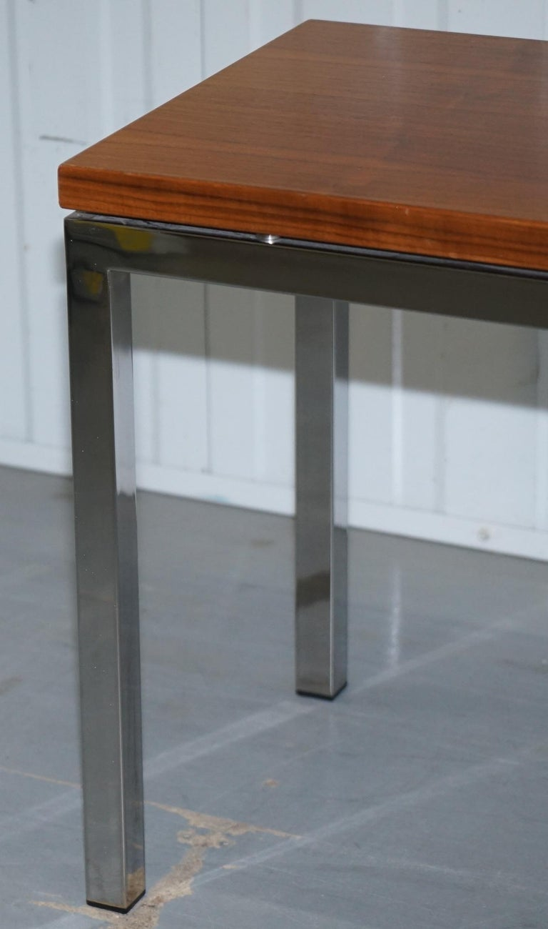 Stunning Teak and Chrome Contemporary Small Coffee Table Midcentury Styling For Sale 4