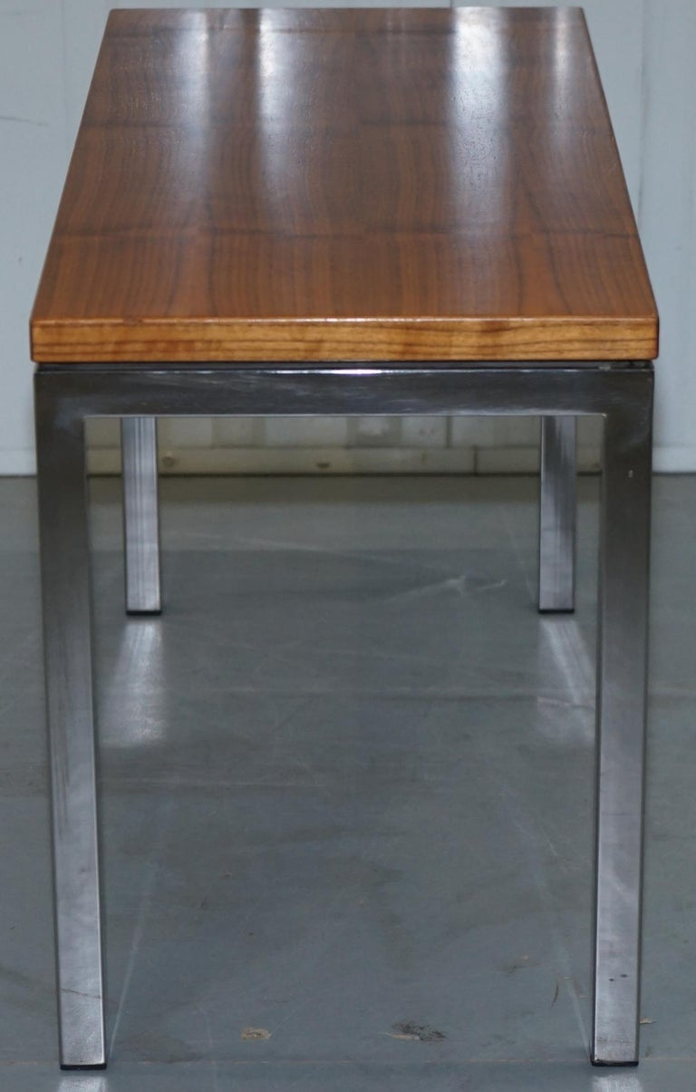 Stunning Teak and Chrome Contemporary Small Coffee Table Midcentury Styling For Sale 5