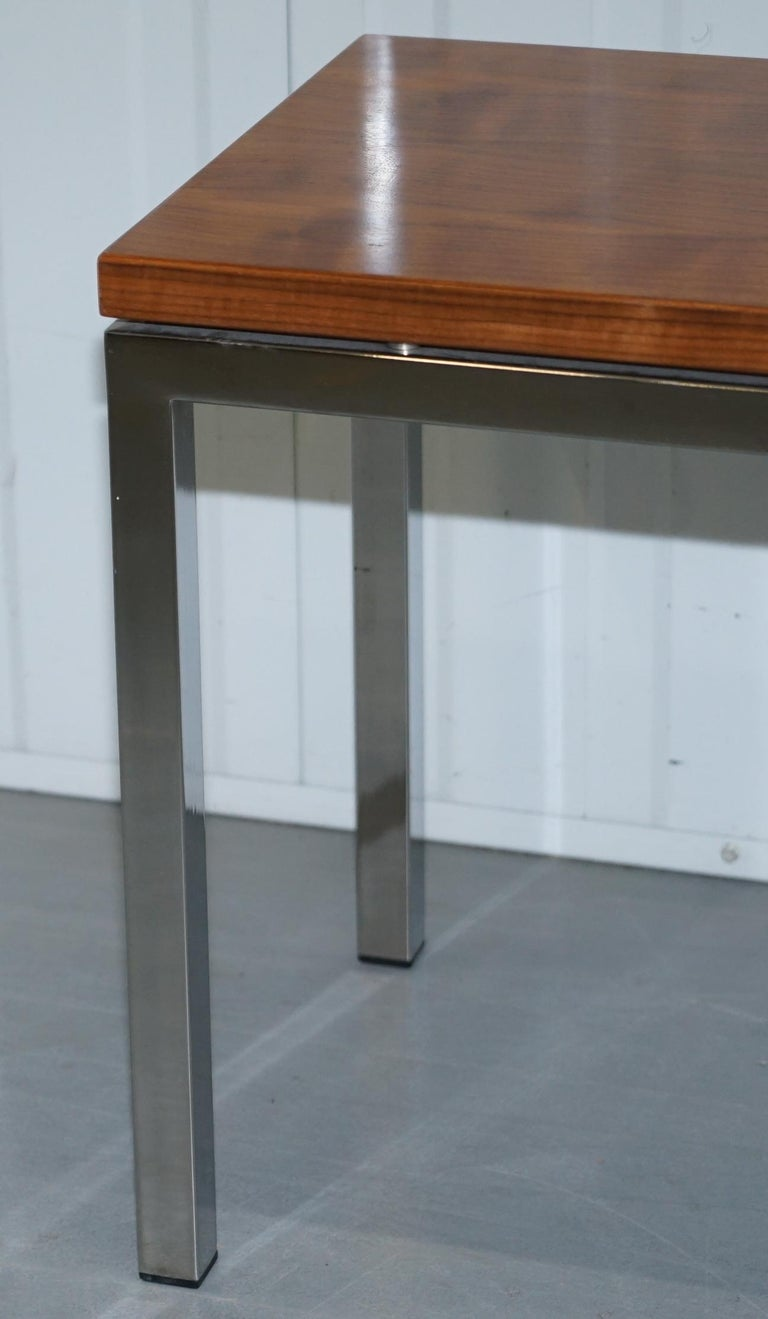 Stunning Teak and Chrome Contemporary Small Coffee Table Midcentury Styling For Sale 7