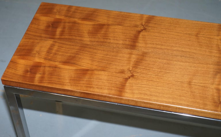 Modern Stunning Teak and Chrome Contemporary Small Coffee Table Midcentury Styling For Sale